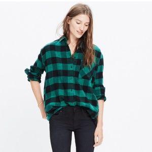 Madewell Green and Black Buffalo Check Flannel